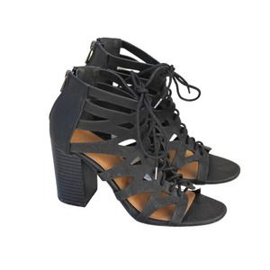 Rubi Vegan Leather Lace Up Cut Out Bootie Heels